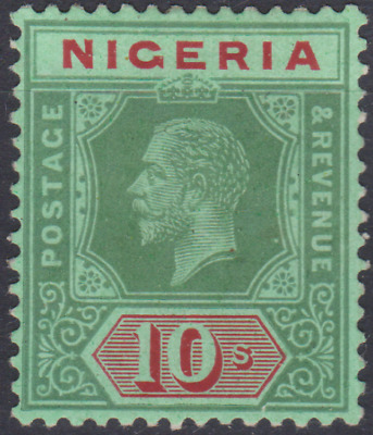 Nigeria 1920 Mint Mounted 10/- Red Green Emerald  Olive Back SG11C Cat £160