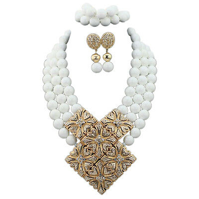 White with Gold Accessory Bridal Party Necklace Bracelet Jewellery Set