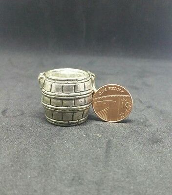 Antique | White Metal | Miniature Barrel with flip lid