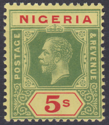 Nigeria 1921 Mint Mounted 5/- Green & Red  Pale Yellow Back SG10E Cat £130