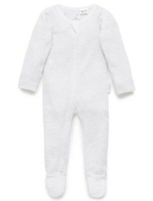 "Purebaby X2 Pale Grey Melange Suit ""Zip Growsuit"" GUC Size 0-3 Months 000"