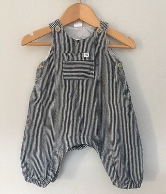 H&M Ticking Stripe Boys Overalls Size 56 0-3 Months Work Once