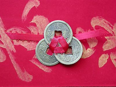 3 Lucky Coins Feng Shui with red ribbon NEW