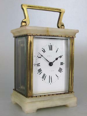 ART DECO FRENCH CARRIAGE CLOCK marble case and oval dial WORKING