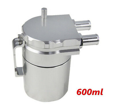 Baffled Universal Car 600ml Alloy Aluminum Oil Catch Can Reservoir Tank (Silver)