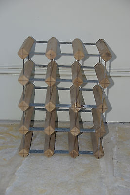Wood & Metal Wine Rack - 16 Bottles
