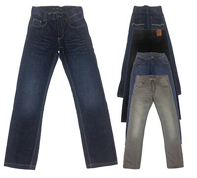 New Boys Cotton Black GREY Slim Fit Classic Jeans Trousers Pants Age 9 - 16 Yrs