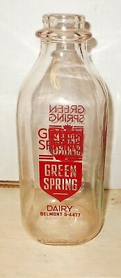 Vintage Green Spring Dairy Pyro One Quart Milk Bottle