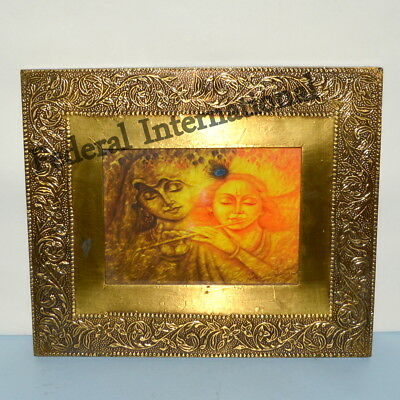 Wooden Picture Photo Frame FLOWER Vintage Handcrafted Beautiful Brass Engraved