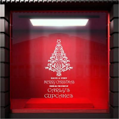 MERRY CHRISTMAS Shop Window Vinyl Decal Sticker PERSONALISED Sign Decoration