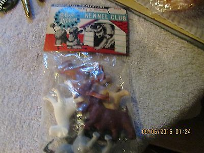 Vtg 1960s Kennel Club Plastic Boxer~Terrier~Scottie Dog~Poodle Toys HEADER BAG