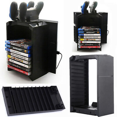 PS4 Multi-functional Detachable Holder for Game Disk Storage Tower with Dual UPS