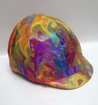 Horse Helmet Cover Multi Coloured Holographic Lycra AUSTRALIAN  MADE