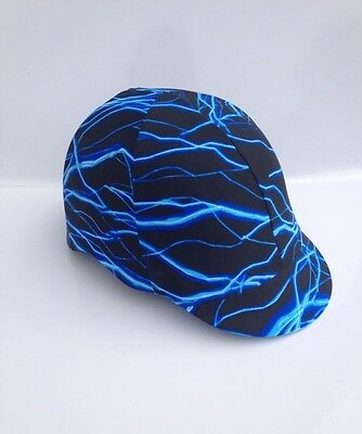 Horse Helmet Cover Blue Lightning Bolt Lycra AUSTRALIAN  MADE
