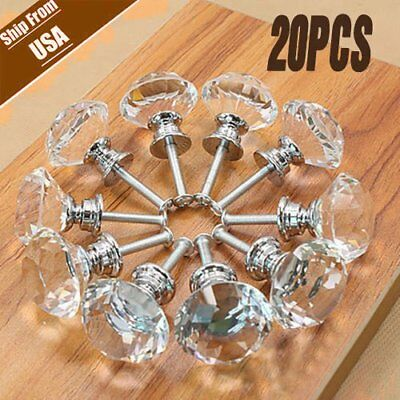 20PCS Diamond Crystal Glass Clear Handle Door Cabinet Drawer Knobs 30mm Set #A