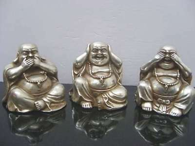 Collectables Old Chinese Tibet Silver Carved Buddha Figurines 3 Pcs Statue