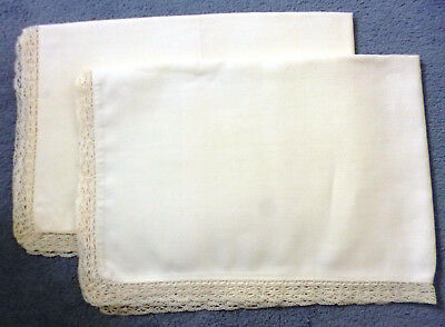 PAIR OF VINTAGE WHITE COTTON PILLOW CASES WITH CROCHET EDGING No 2