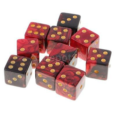10pcs D6 Dice Set Double-Colors for DND MTG RPG Party Table Games Red Black