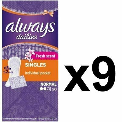Always Dailies Panty Liners Normal Fresh Scent Individually Wrapped - 180 Pack