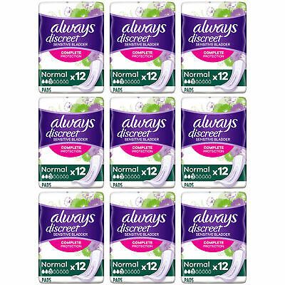 Always Discreet Sensitive Bladder Incontinence Pads Normal Odour Lock - 108 Pack