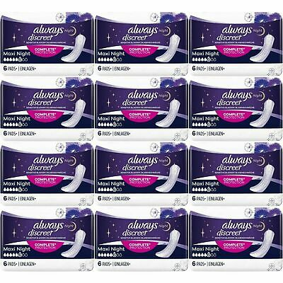 Always Discreet Sensitive Bladder Incontinence Pads Maxi Night Scented - 72 Pack