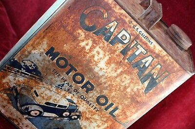 ** Antique Vintage Gas Station Capitan Paralube Motor Oil Can Early 2 Gallon **