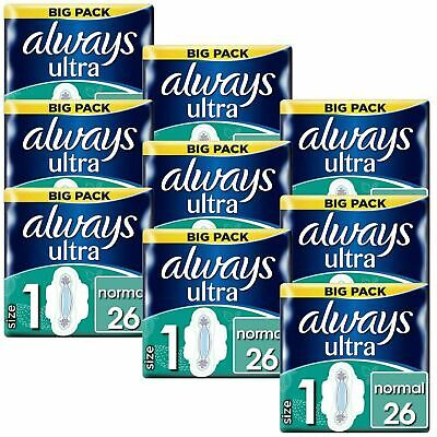 Always Ultra Normal Sanitary Towels Pads Size 1 Wings Women Absorbent - 234 Pack