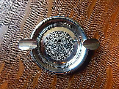 Vintage Aztec Mayan Sun God Calendar Ash Tray Solid 925 Sterling Silver Mexico