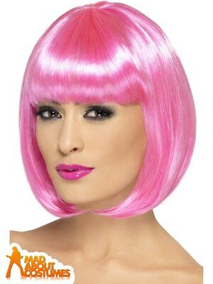Pink Bob Wig Partyrama Ladies Clown Circus Fancy Dress Costume Accessory