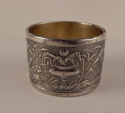 Antique Aesthetic Silverplate Silver Plate Napkin Ring Embossed Urn & Birds NR