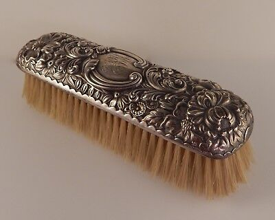 Antique Old Mark Gorham Sterling Silver Embossed Floral Repousse Clothing Brush