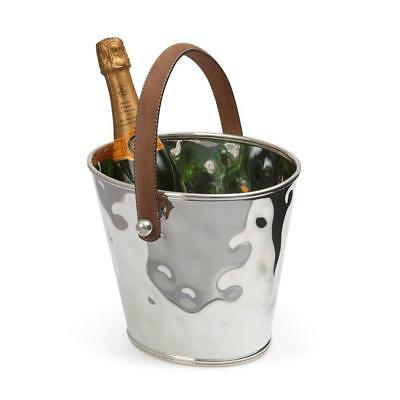Silver Wine Cooler with Leather Handle