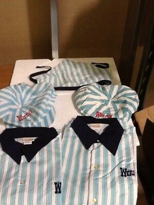 Lot Of 5 Vintage Wendy's Uniform Shirt's And Hats