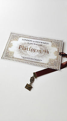 Marque Page Harry Potter bookmark billet train plateform 3/4 hibou owl lettre