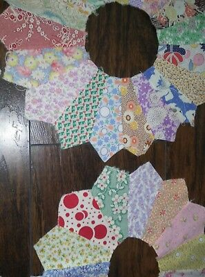 Vtg Old Lot 15 DRESDEN PLATE Calico Quilt Squares FEEDSACK Fabric Block Pieces-3