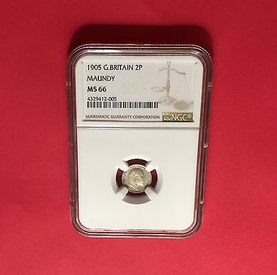 GREAT BRITAIN 1905 MAUNDY SILVER 2 PENCE  NGC MS66..rare grading.