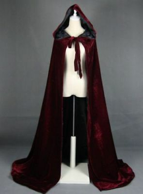 2017 Wine Black Velvet Hooded Cloak Long Wedding Cape Halloween Plus Size S-XXL