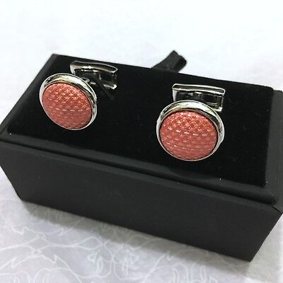 Mens Cuff Links T.M.LEWIN Woven Silk CORAL PINK SILVER PLATED BRASS + GIFT BOX