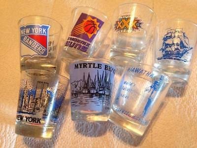 Lot of 7 VINTAGE  souvenir from tourist sites and sport shot glass