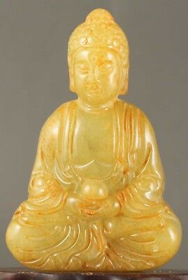 Chinese old natural jade hand-carved jade statue buddha 2.4 inch