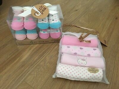 Chickpea Baby Girl Gift Set Bodysuits 3-6 And Frilly Socks 0-12 Months