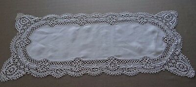 """Vintage French Table Runner Hand Embroidered White Linen Lace Bobbin 42 x 17"""""""