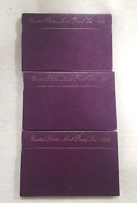 1988 S United Stated 5 Coin Proof Set In Mint Box $.50, .25, .10, .05, .01
