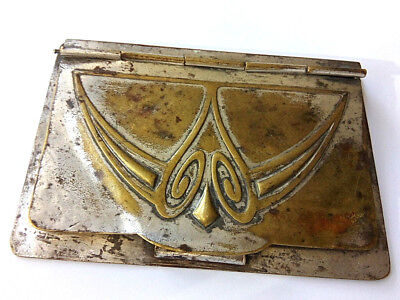 Germany WMF Metal Fabric Notebook Bronze Art Nouveau Old Rare Silverplate.