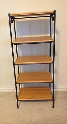 Longaberger Foundry Collection Wrought Iron 5 Tier 5 Wood Shelves Excellent!