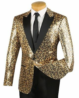 Men's Gold Cheetah Print Sequins 1 Button Peak Lapel Tuxedo Jacket Blazer NEW