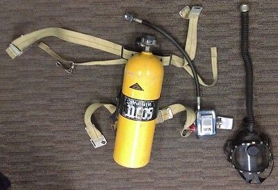 Scott Air Pak Harness, Scuba Tank 2216psi, LG Full Face Mask/Respirator & Case