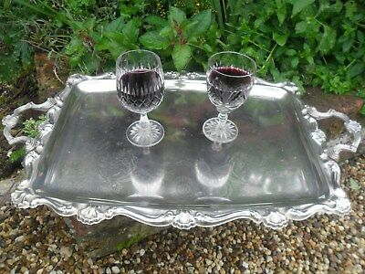 Silver Plated Gallery Style Ornate Drinks Serving Tray