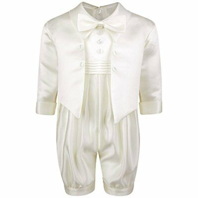Baby Boys Ivory Christening Romper Suit with Ivory Jacket Christening Outfit