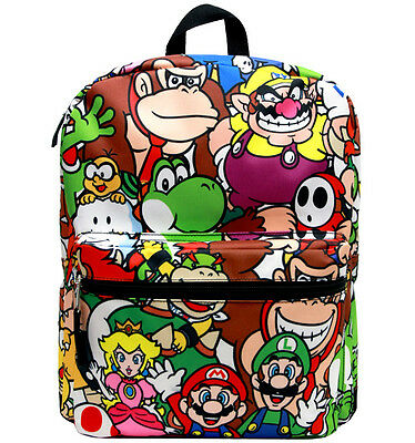 "Nintendo Super Mario All Over Printing 14"" Canvas School Backpack"